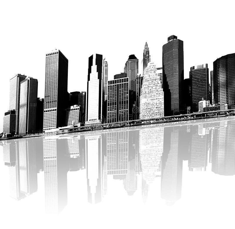 Paysage urbain - silhouettes des gratte-ciel illustration libre de droits