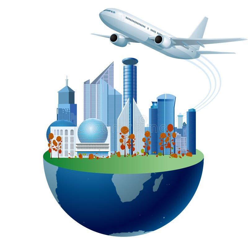 Paysage urbain sur la terre, gratte-ciel de métropole Vol d'avions illustration stock