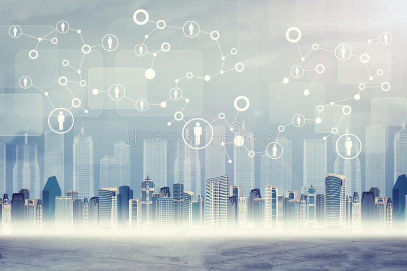 Paysage urbain sur le fond virtuel abstrait illustration stock