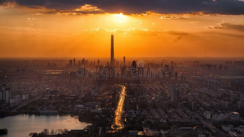 Paysage urbain, ville, point de repère, ciel