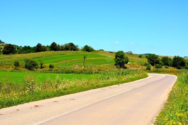 Paysage vert en Transylvanie Une route entre les villages images stock