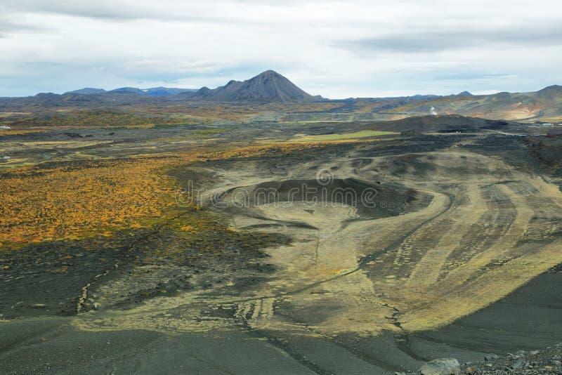 Paysage volcanique de cratère de Hverfjall image libre de droits