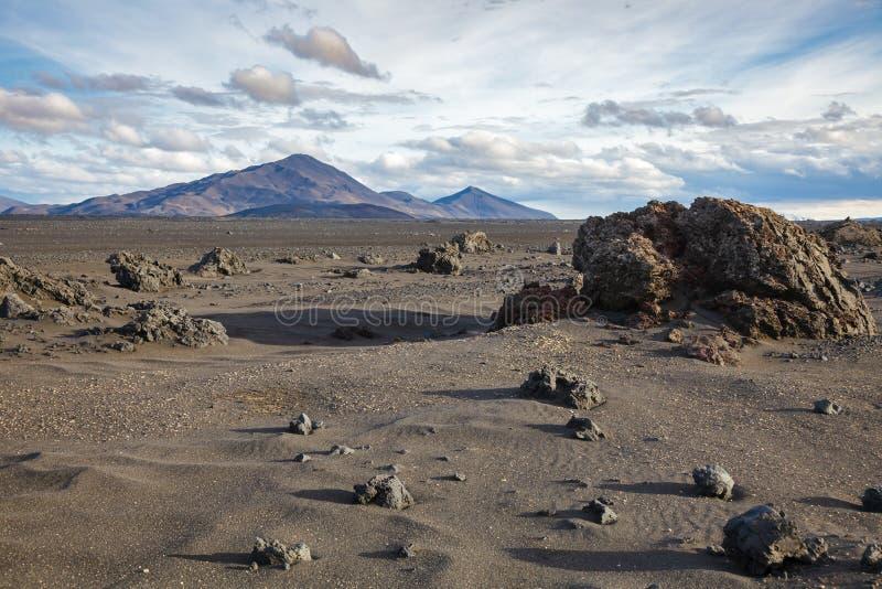 Paysage volcanique des montagnes de gisement de lave d'Odadahraun de l'Islande Scandinavie photo libre de droits