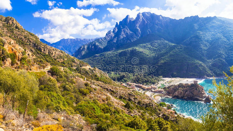 Paysages étonnants de la Corse photographie stock