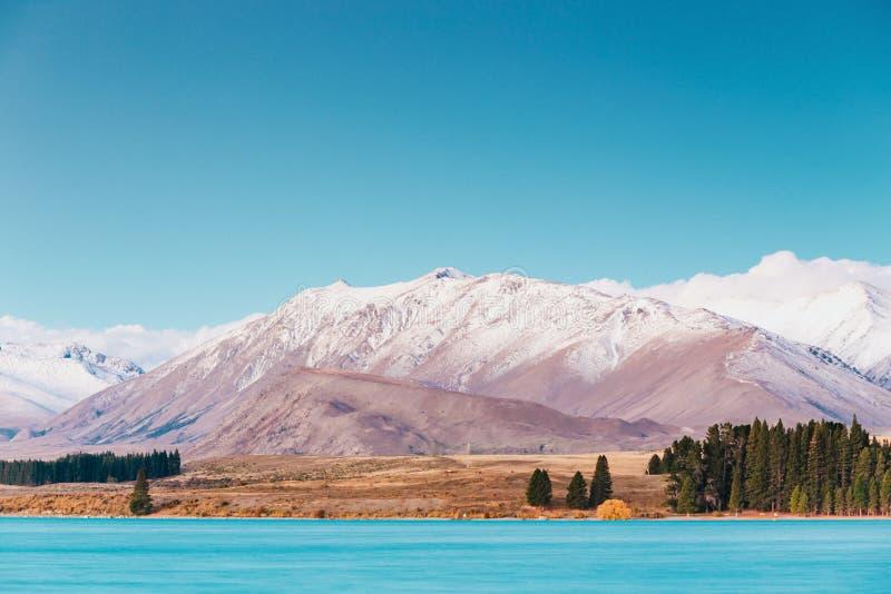 Paysages étonnants vus de l'observatoire de Tekapo image libre de droits