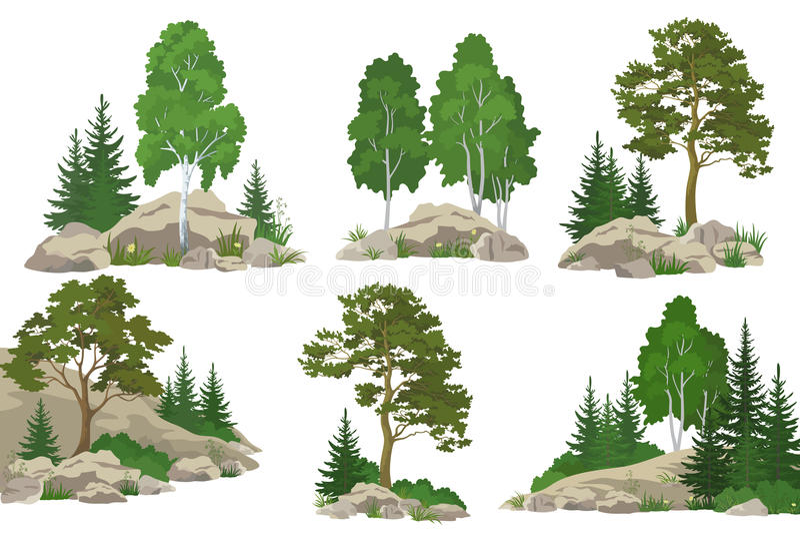Paysages avec des arbres et des roches illustration de vecteur
