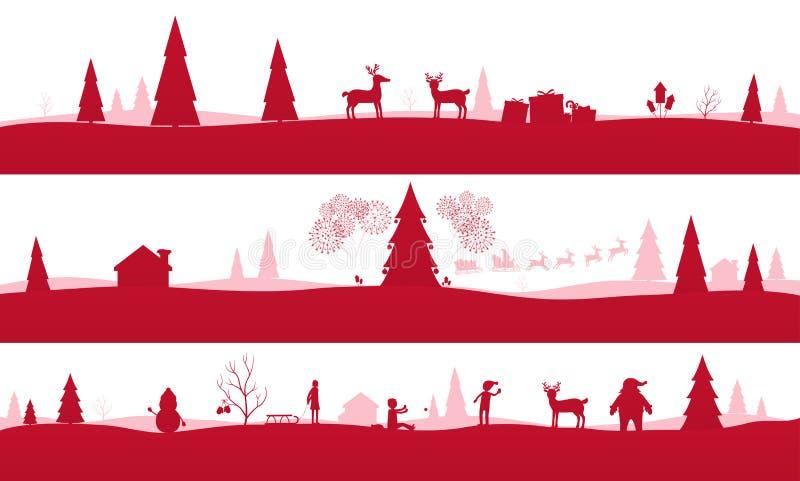 Paysages de Joyeux Noël illustration stock