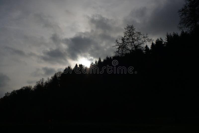 Paysages sombres avec les arbres foncés photographiés un après-midi orageux sombre d'hiver en Allemagne photographie stock libre de droits
