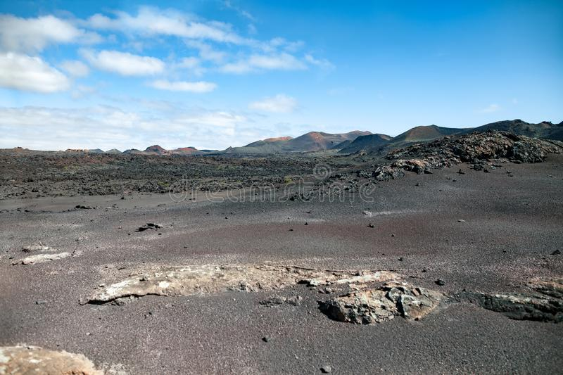 Paysages volcaniques uniques de parc national de Timanfaya, Lanzarote photo libre de droits