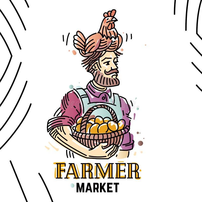 Paysan avec la poule sur sa tête et panier avec des oeufs illustration stock
