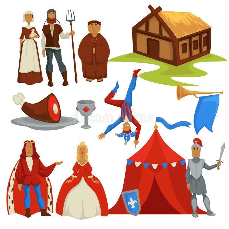 Paysans médiévaux d'âges et caractères d'isolement par histoire de redevance illustration libre de droits
