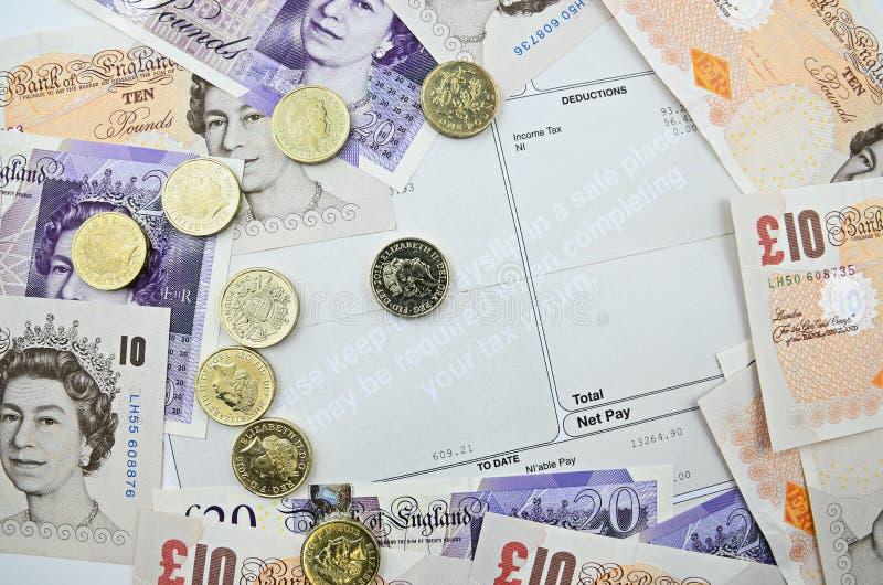 Payslip z banknotami zdjęcie stock