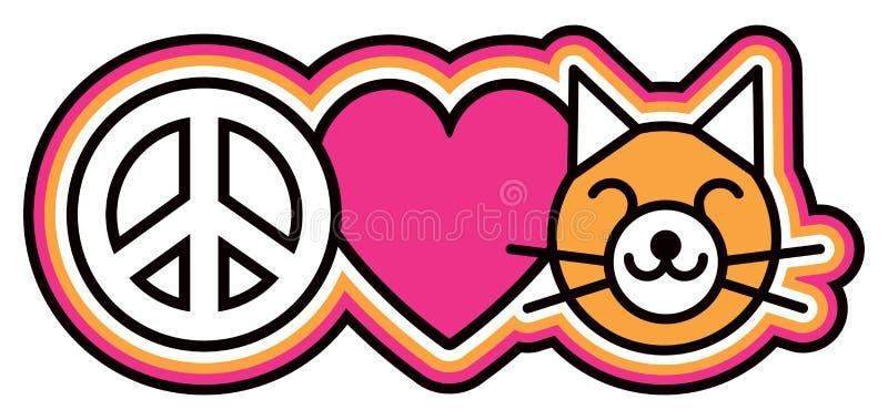 Paz-Amor-gatinhos ilustração stock