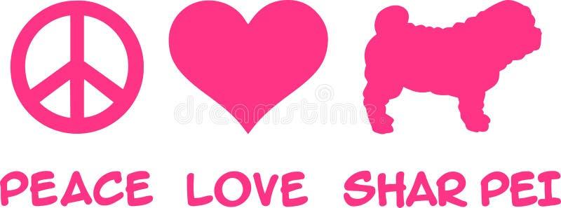 Paz, amor, Shar Pei stock de ilustración
