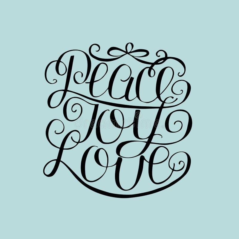 Paz da rotulação da mão, alegria, amor ilustração do vetor