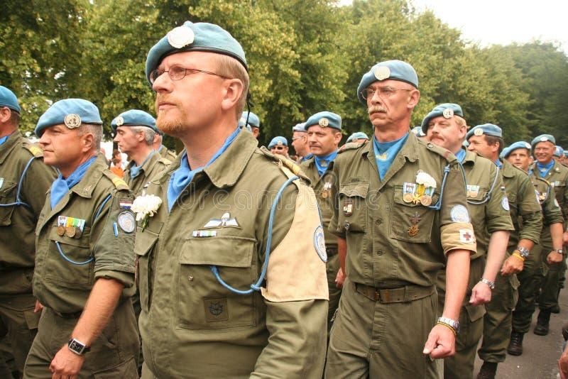 Paz de la O.N.U que guarda a veteranos imagen de archivo