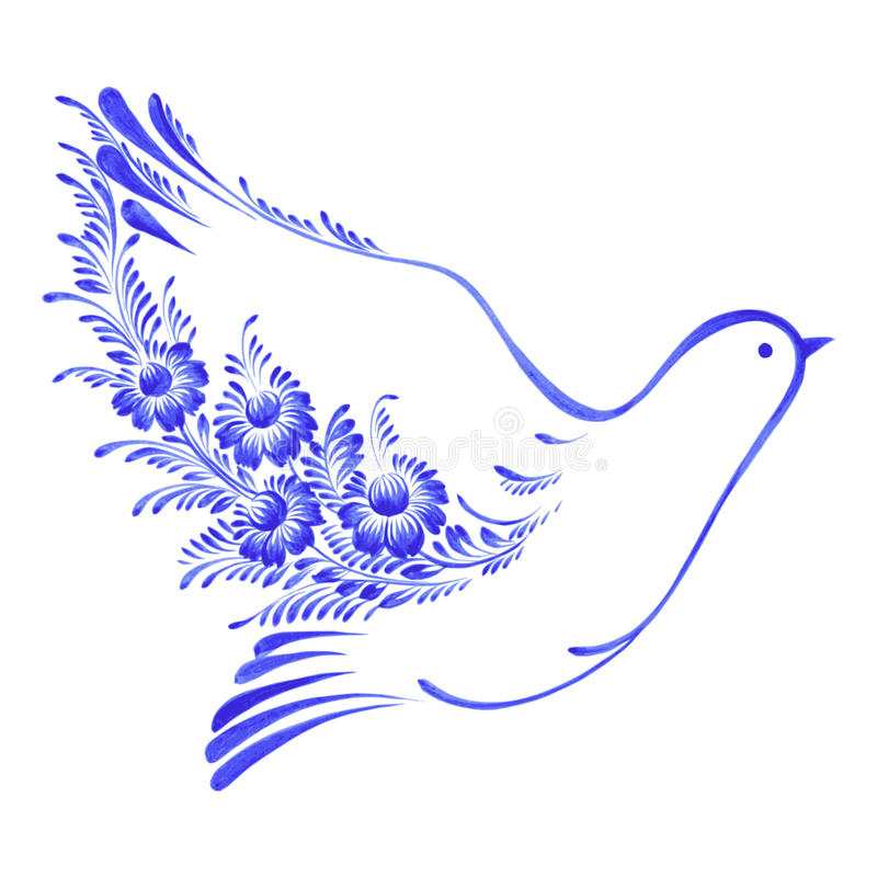 Paz decorativa floral de la paloma del ornamento stock de ilustración