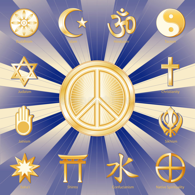 paz del mundo de +EPS, muchas fes ilustración del vector