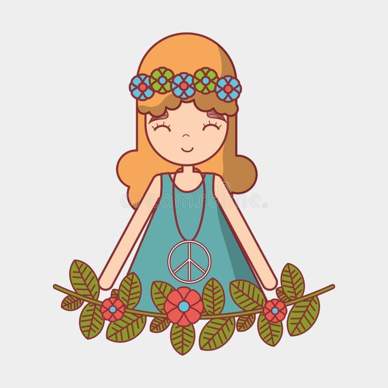 Paz e amor da mulher da hippie ilustração do vetor
