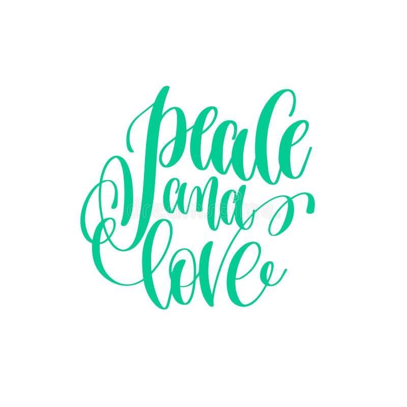 Paz e amor - entregue citações do amor da rotulação ao DES do dia de Valentim ilustração royalty free