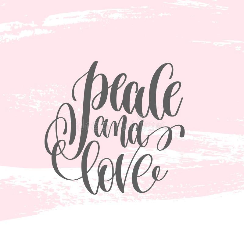 Paz e amor - entregue o cartaz da rotulação no curso cor-de-rosa da escova ilustração royalty free