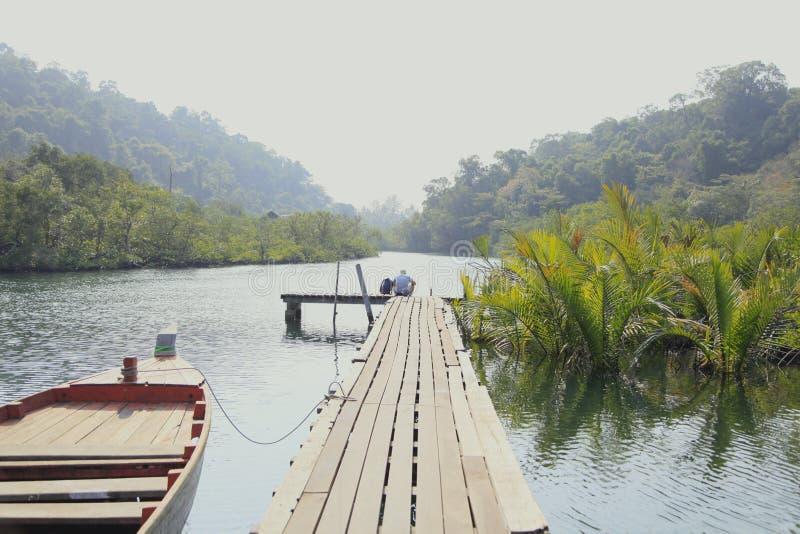 Paz tailandesa de los árboles del río del kohkood de Tailandia fotografía de archivo libre de regalías