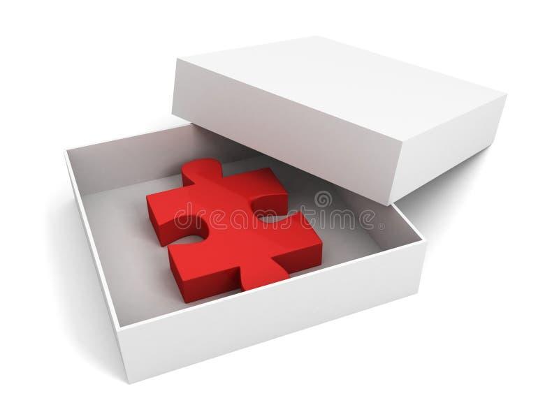 Paz vermelha do enigma na caixa de presente branca aberta ilustração royalty free