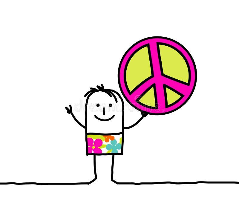 Paz y amor stock de ilustración