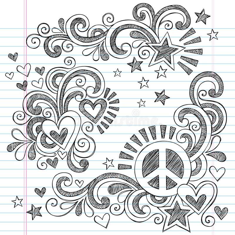 Paz y amor de nuevo al ejemplo incompleto del vector de los garabatos del cuaderno de la escuela ilustración del vector