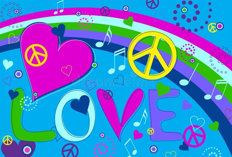 Paz y corazones del amor stock de ilustración