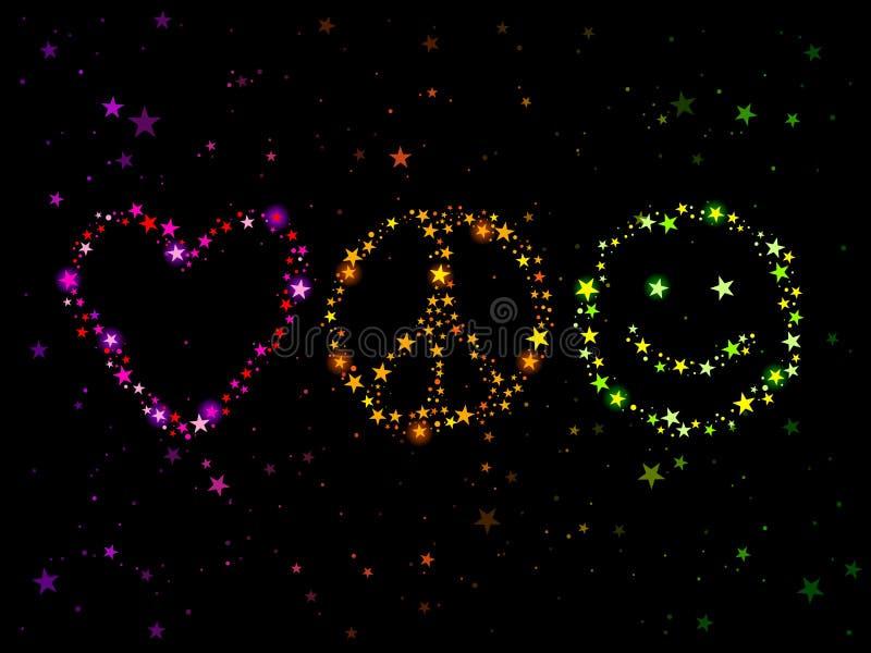 Paz y felicidad del amor stock de ilustración