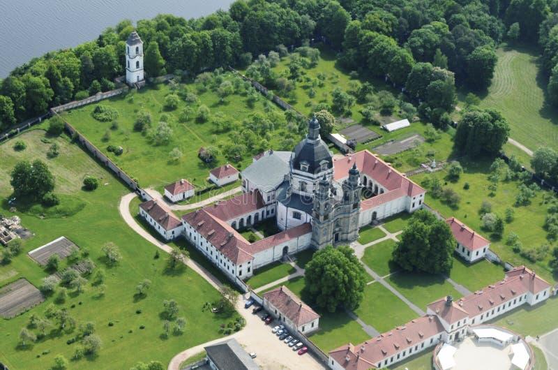 Pazaislis monaster i kościół jesteśmy wielkim monasteru kompleksem w Kaunas, Lithuania i przykładzie Włoski barok, (litwin) obrazy royalty free