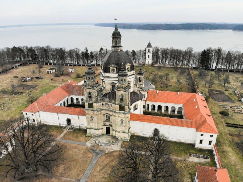 Pazaislis monasteru widok z lotu ptaka w Kaunas, Lithuania zdjęcie royalty free