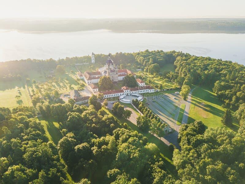 Pazaislis Monastery in Kaunas, Lithuania. Drone aerial view. Summer season royalty free stock photo