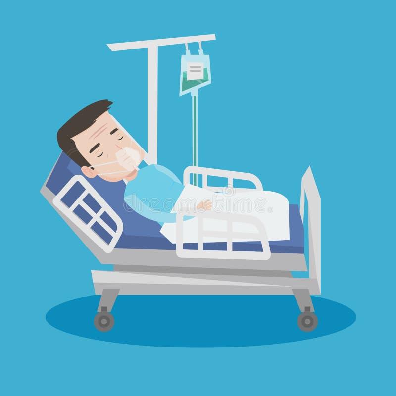 Paziente che si trova nel letto di ospedale con la maschera di ossigeno royalty illustrazione gratis