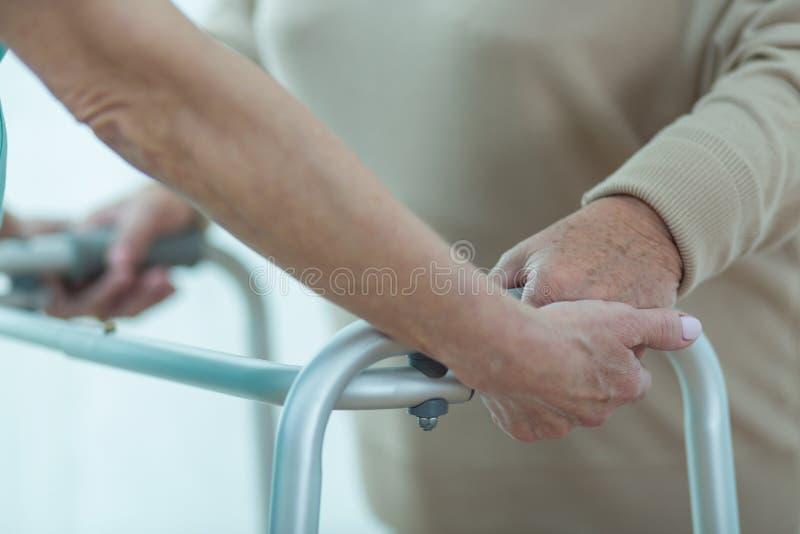 Paziente d'aiuto dell'erba medica con zimmer immagine stock libera da diritti