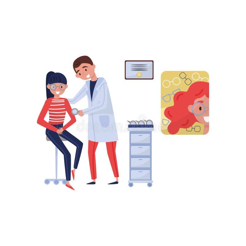 Paziente d'aiuto della ragazza dell'oftalmologo femminile di medico con i vetri selezione, trattamento medico e sanità delle diot illustrazione vettoriale