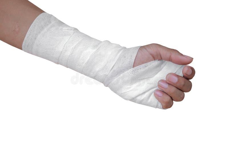 Paziente della fasciatura della garza con la lesione dell'involucro della mano isolato sul percorso bianco di ritaglio e del fond fotografia stock libera da diritti