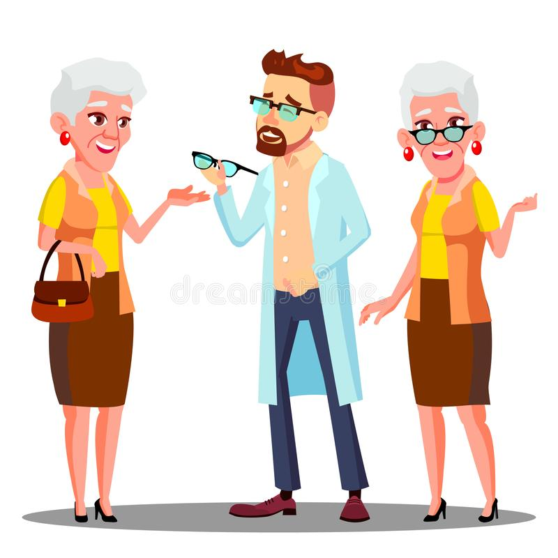 Paziente europeo della donna anziana del dottore Giving Glasses To dell'oculista con il vettore di problema di visione Illustrazi royalty illustrazione gratis
