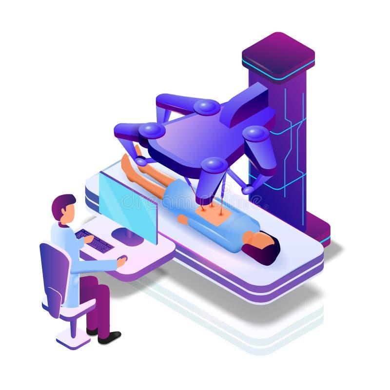 Paziente femminile di operazione di vettore con il robot medico illustrazione di stock