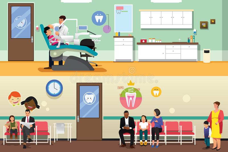 Pazienti e dentista all'illustrazione dentaria dell'ufficio illustrazione vettoriale