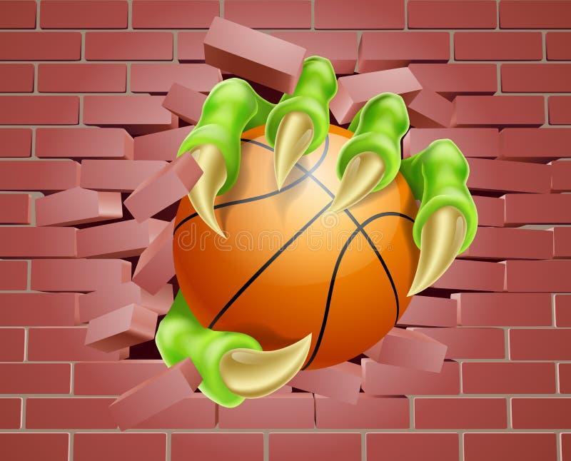 Pazur z Koszykowym Balowym łamaniem Przez ściana z cegieł ilustracja wektor