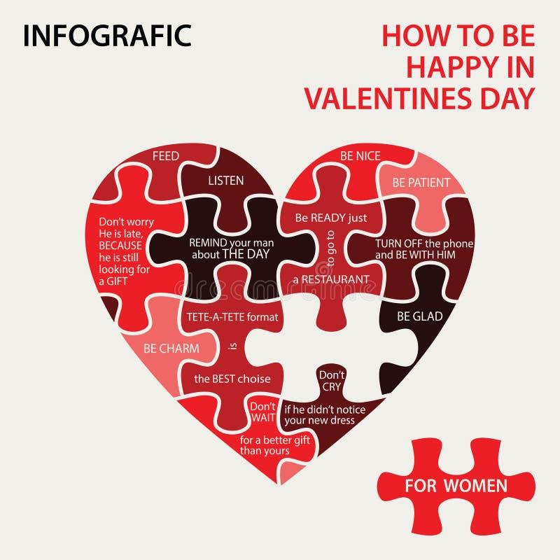 Pazzle сердца Как быть счастливый в дне валентинок бесплатная иллюстрация