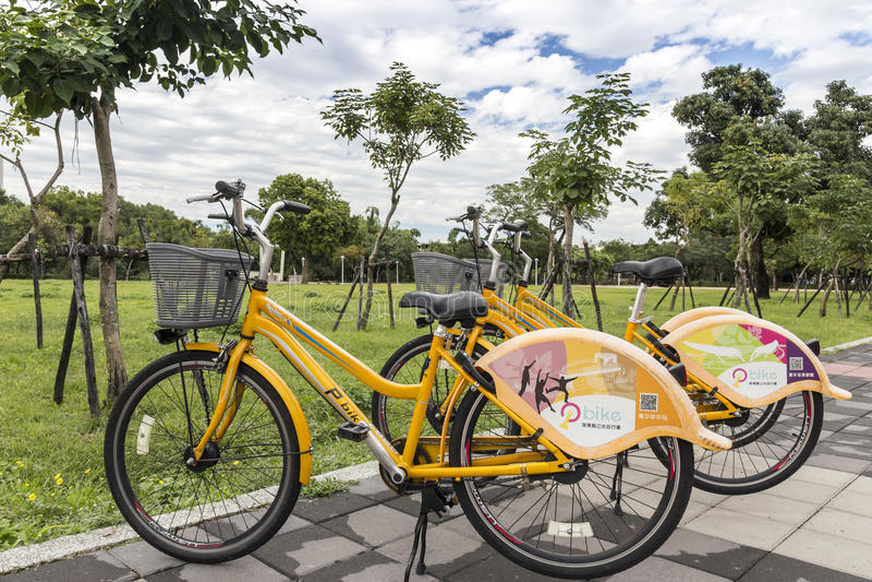 Pbike, ένα δημόσιο σύστημα ενοικίου ποδηλάτων σε Pingtung στοκ φωτογραφία με δικαίωμα ελεύθερης χρήσης