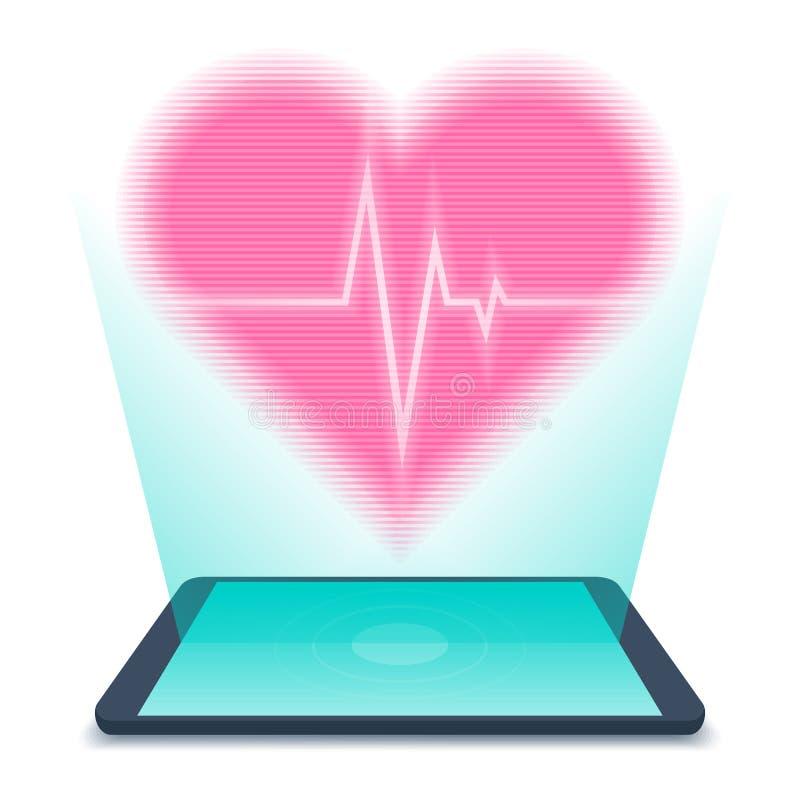 PC ταμπλετών με το ολόγραμμα της ανθρώπινης καρδιάς Έννοια τηλεϊατρικής άρρωστη ελεύθερη απεικόνιση δικαιώματος