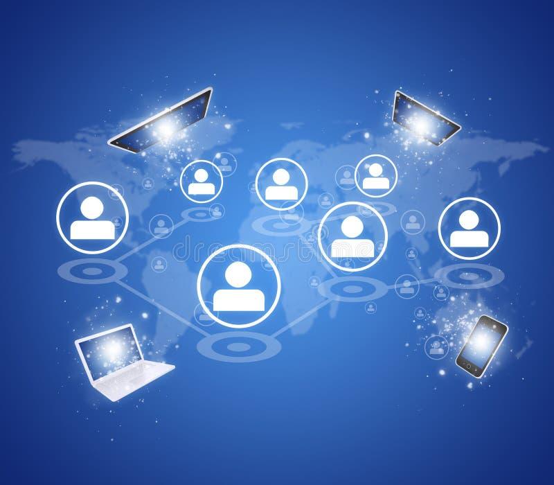 PC ταμπλετών, έξυπνο τηλέφωνο, lap-top και δίκτυο ελεύθερη απεικόνιση δικαιώματος