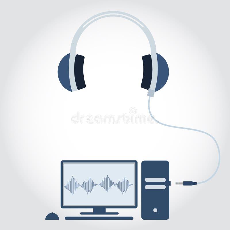 PC avec l'écouteur illustration de vecteur. Illustration du