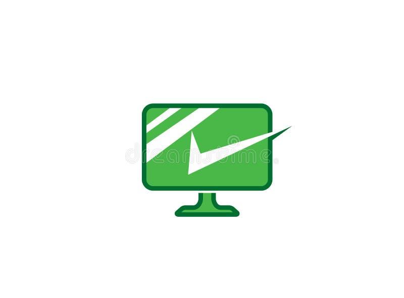 PC com uma tela de computador verde grande do sinal ícone linear com marca de verificação para a ilustração do projeto do logotip ilustração do vetor