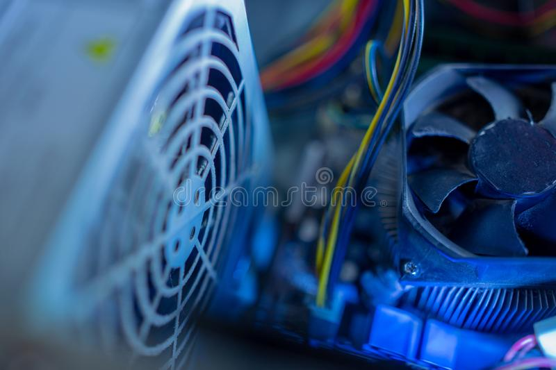 PC components in dust. macro CPU fan. It does not work, in dust and dirty. stock photos