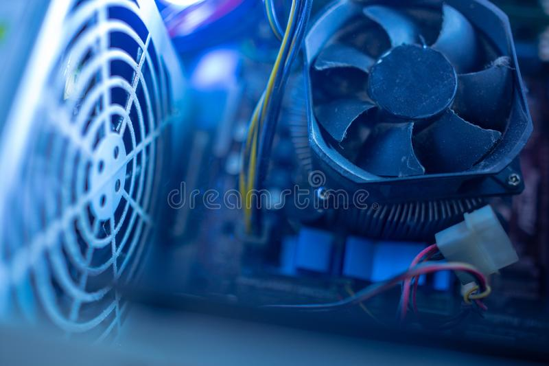 PC Components In Dust  CPU Fan Is Work  Dusty Power Wires